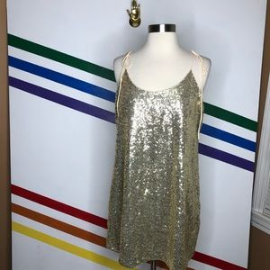 NEW Urban Outfitters sequin tie strap dress
